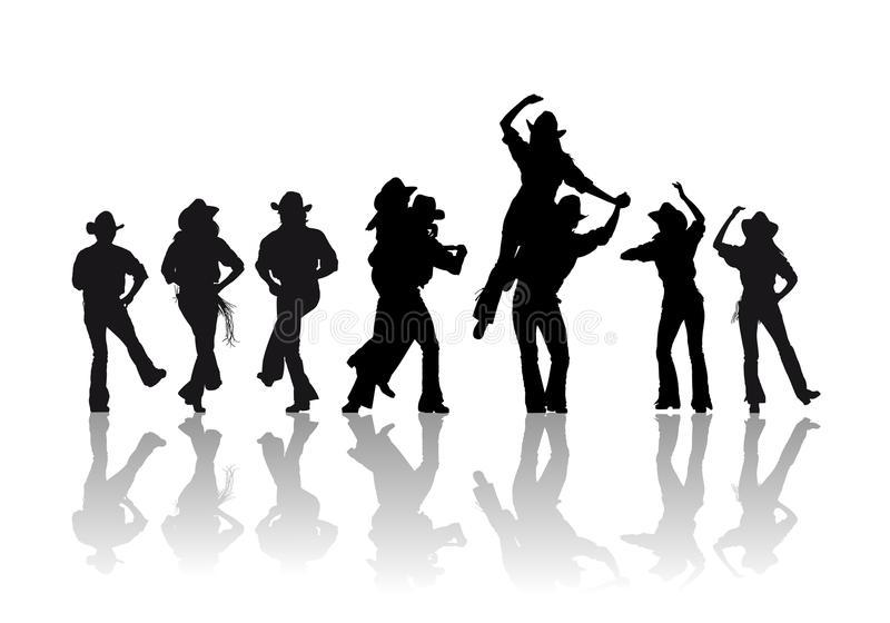 Cowboy Dance Stock Illustrations.