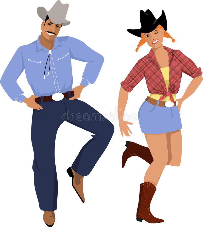 Country Dancers Stock Illustrations.