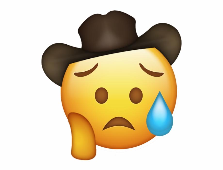 Sad Cowboy Hat Emoji Free PNG Images & Clipart Download #2535830.
