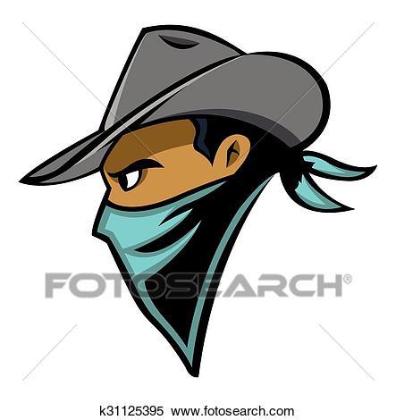 Cowboy face Clipart.