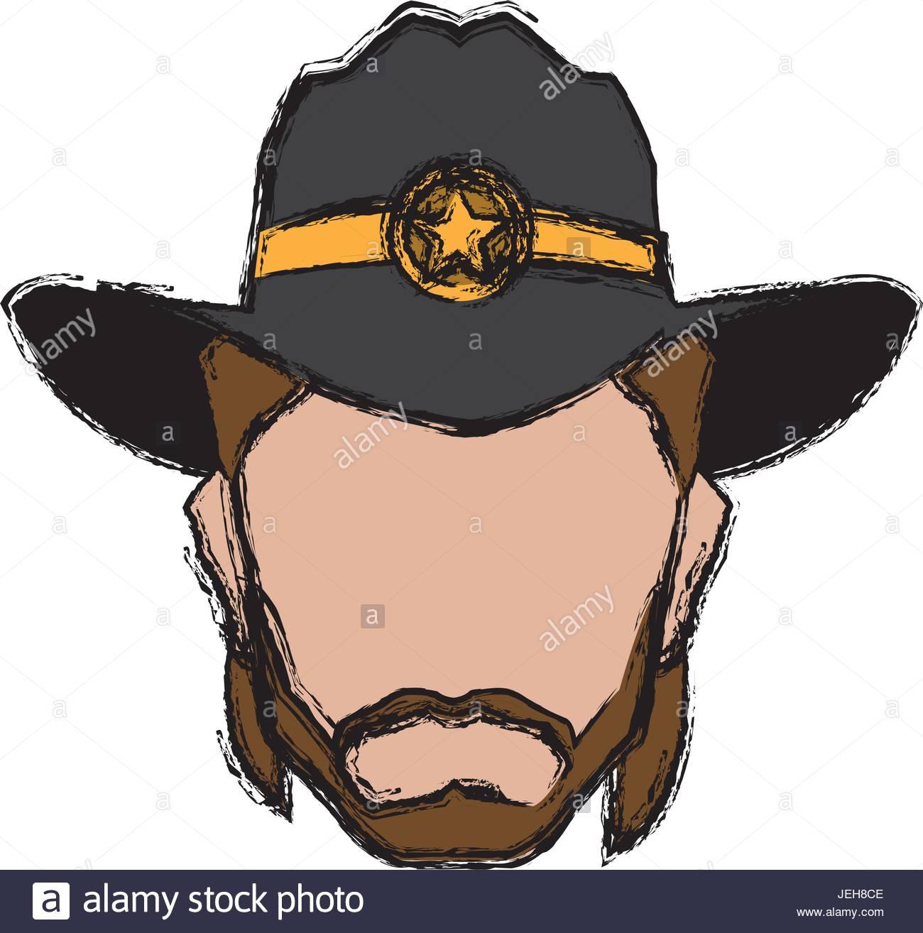 cowboy face portrait of strong man Stock Vector Art & Illustration.