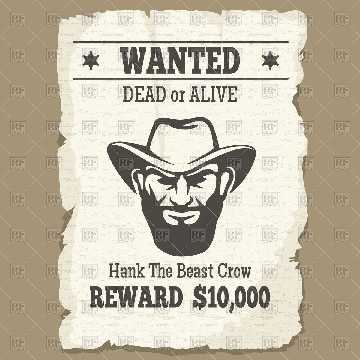 Wanted dead or alive icon, vintage western poster with cowboy face Stock  Vector Image.
