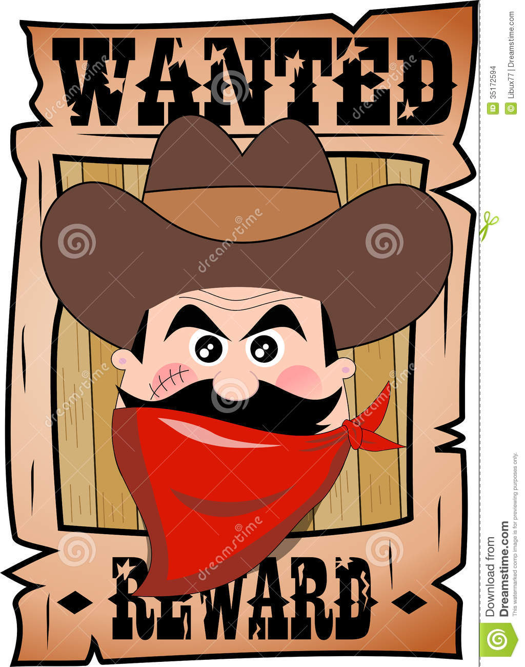 Cartoon Wanted Poster With Bandit Face Stock Vector.