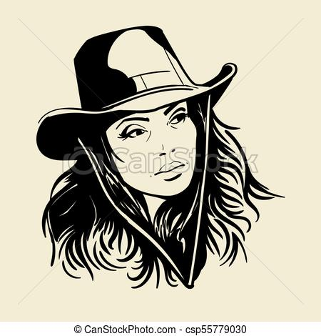 Woman face with a cowboy hat. Black and white vector..