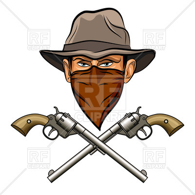 Bandit in hat with bandana on face and two crossed guns (six.