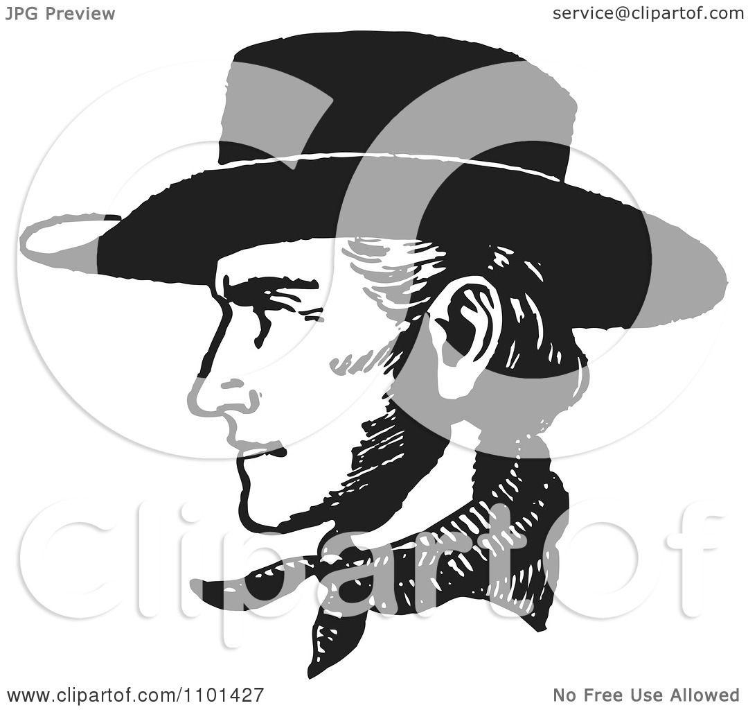 Clipart Retro Black And White Cowboy Face In Profile.