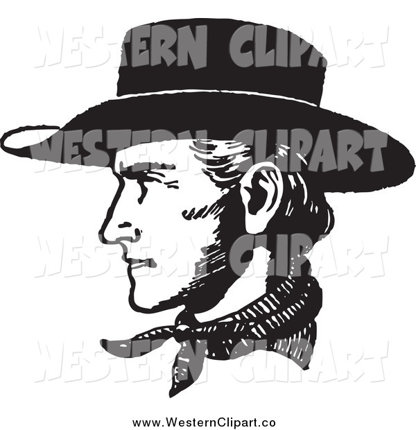 Vector Clip Art of a Black and White Cowboy Face in Profile by.