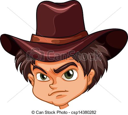 An angry face of a cowboy.