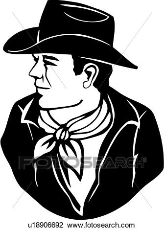 , american, cowboy, face, head, man, people, poses, Clipart.