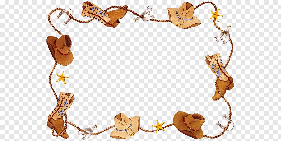 Brown cowboy hat border illustration, Cowboy Western Free.