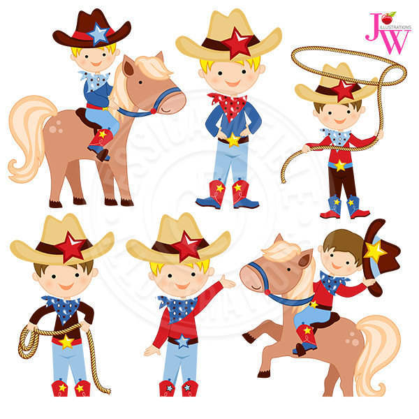 Cute Cowboy Clipart Graphic Pony Hat.
