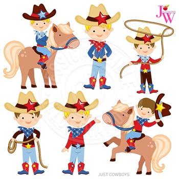 Just Cowboys Cute Digital Clipart, Cowboy Graphics.