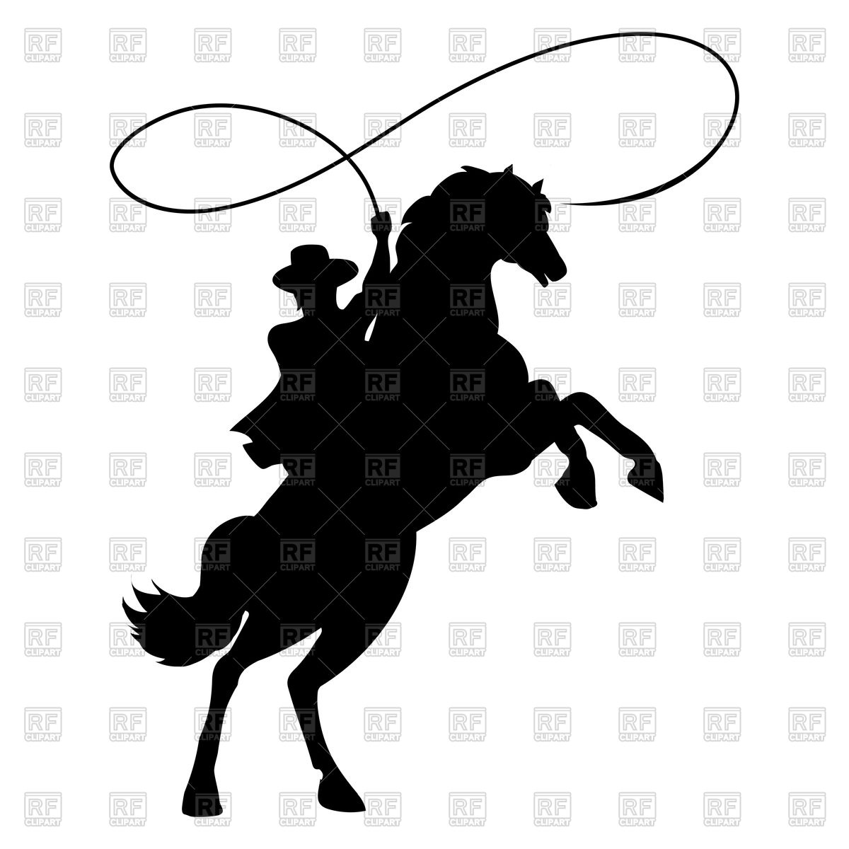 Cowboy silhouette with rope lasso on horse Stock Vector Image.