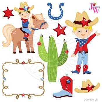 Cowboy Up Cute Digital Clipart, Cowboy Graphics.