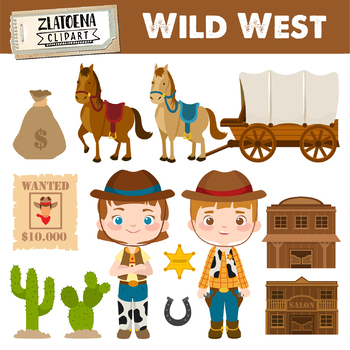 Wild West Digital Clipart Cowboy clip art Cowgirl graphics Sheriff.