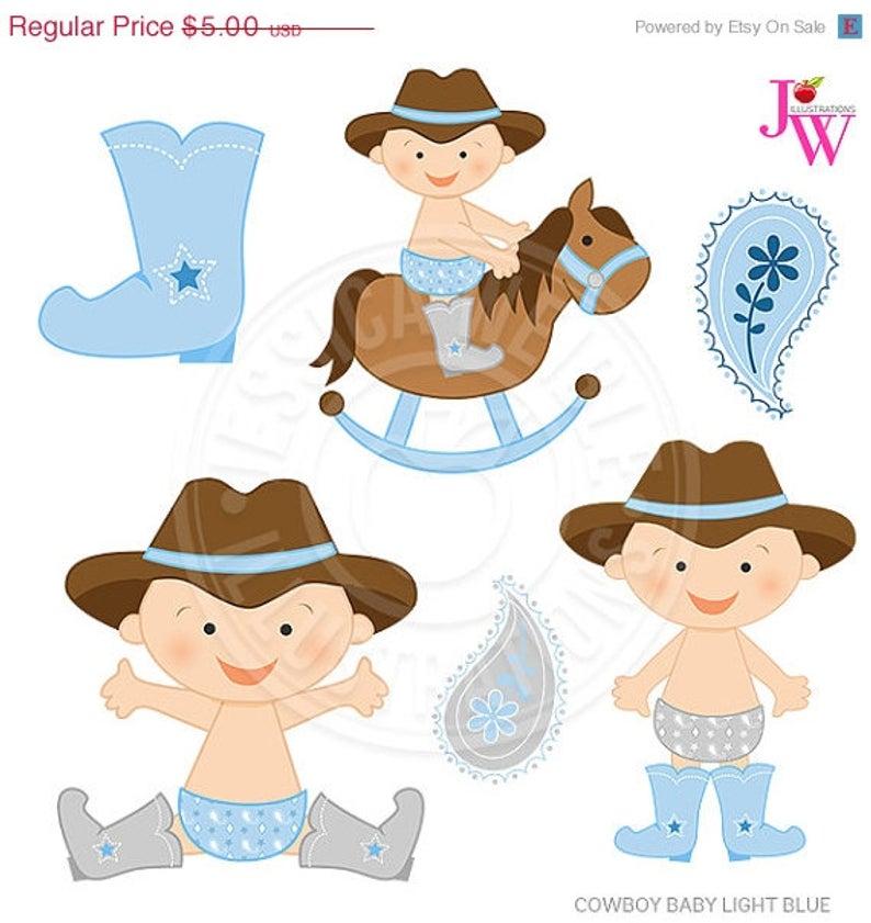 Light Blue Cowboy Baby Cute Digital Clipart, Cute Baby Cowboy Clip Art,  Cowboy Clipart, baby Graphics, baby Clipart, Cowboy Hat Baby, Horse.