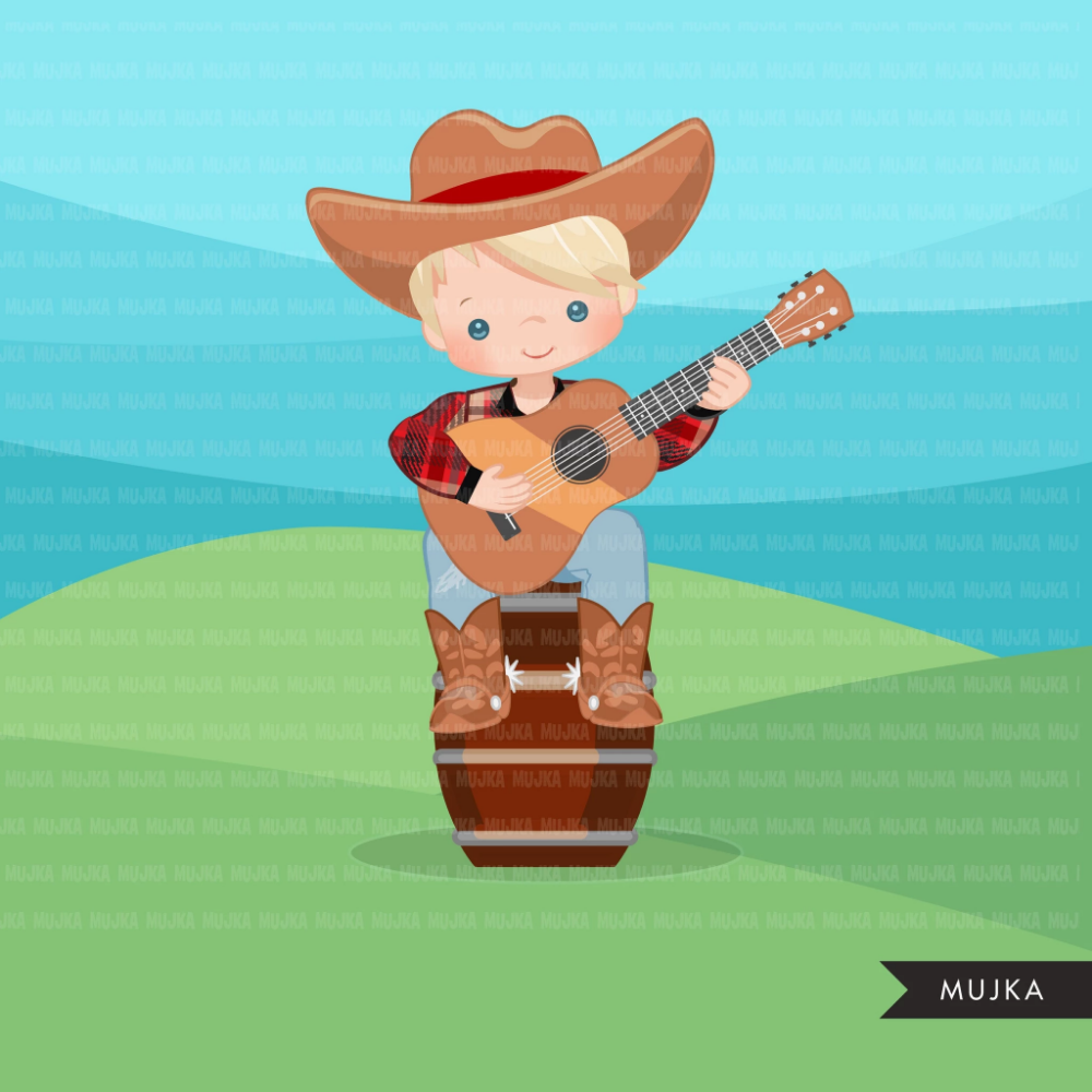 Cowboy with guitar clipart, farmer characters country farm.