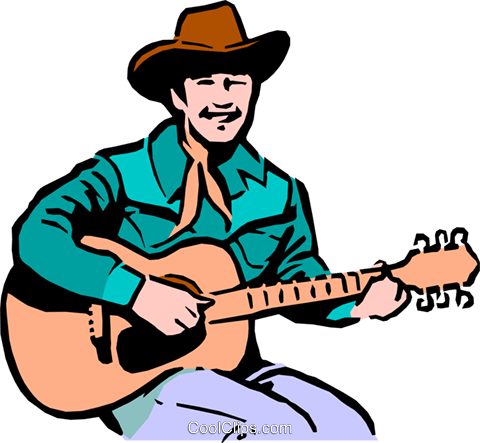 Cowboy playing the guitar Royalty Free Vector Clip Art.