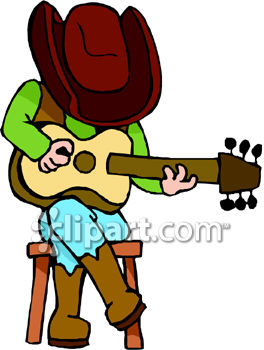 Cowboy Playing Guitar Clipart.