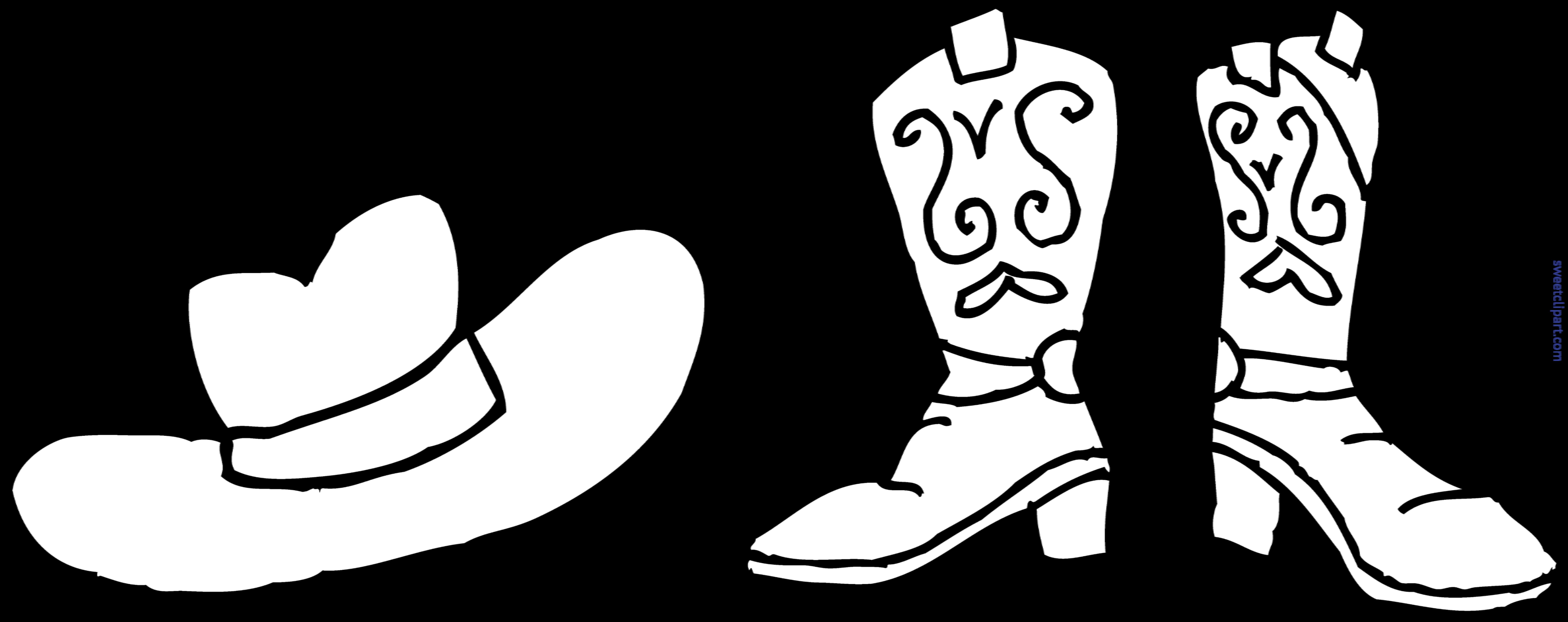Cowboy Hat Boots Coloring Page Clip Art.