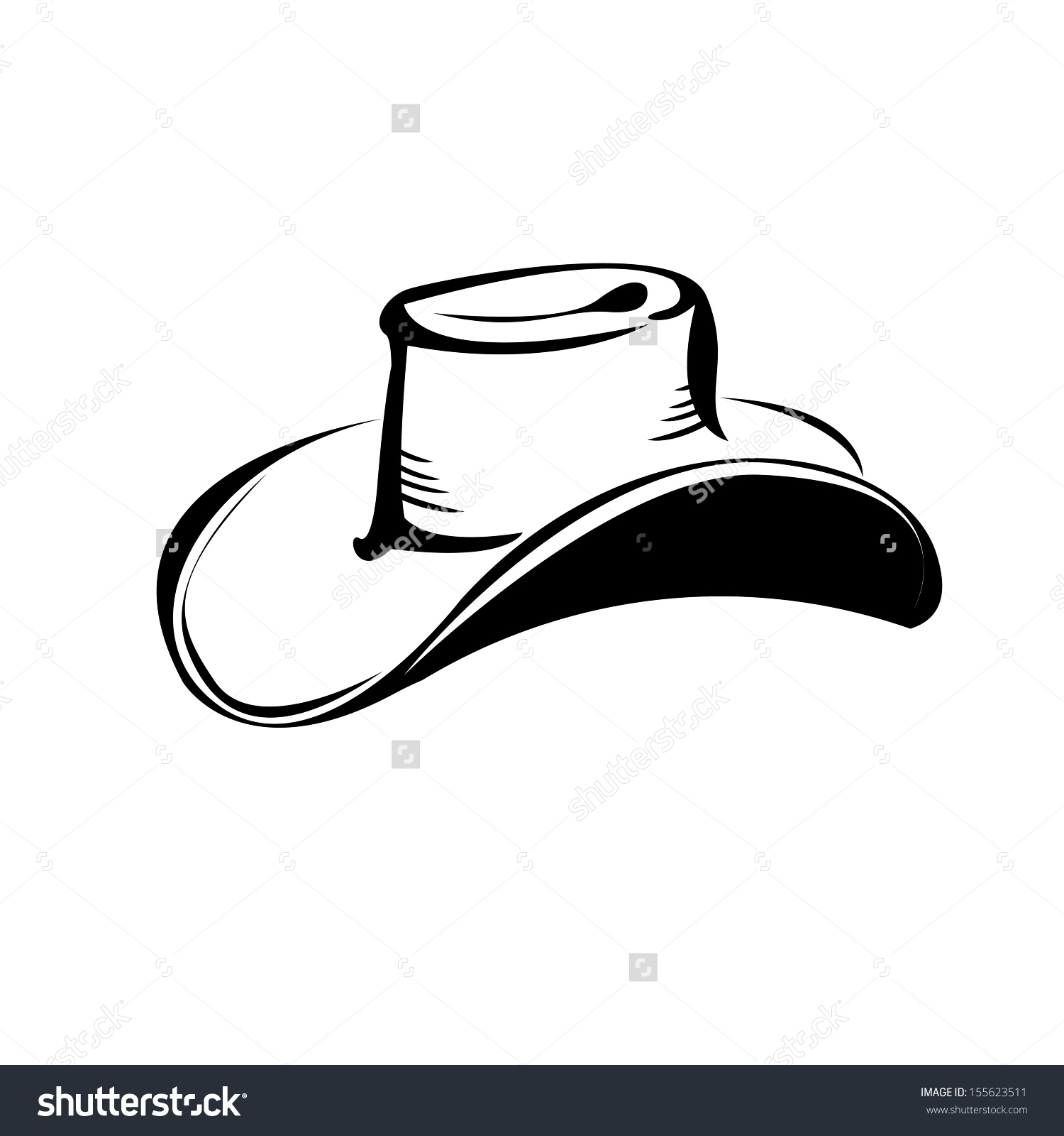 Cowboy Hat Silhouette Vector Illustration Stock Vector 155623511.