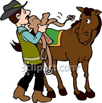 Cowboy Saddling His Horse.