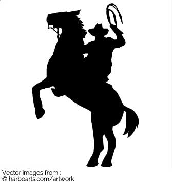 Download : Cowboy on Rearing Horse With a Lasso.