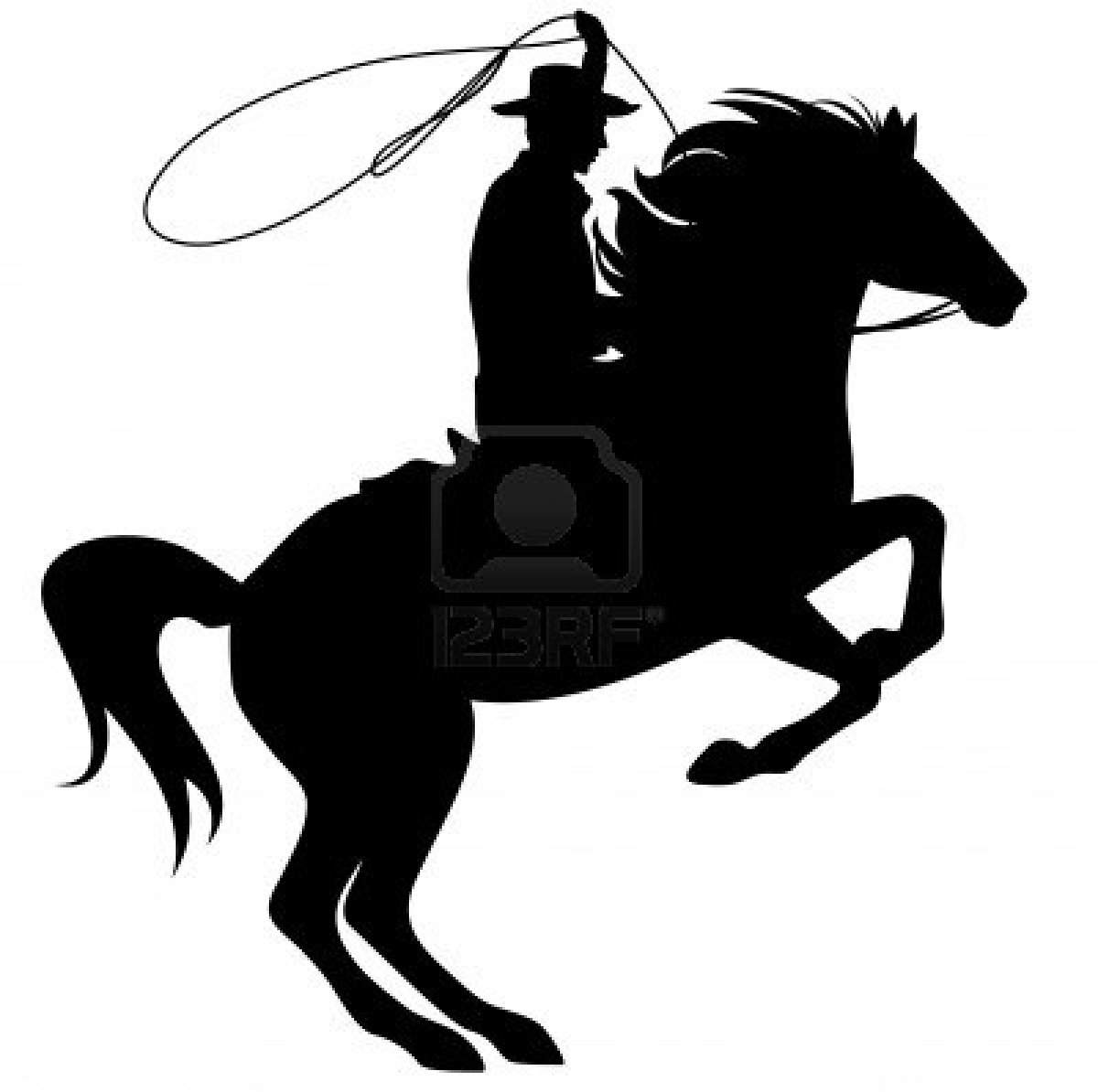Free Cowboy on Horse Clipart Image.