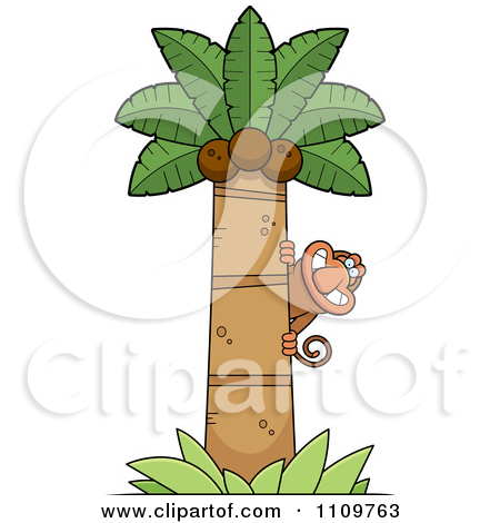Monkey Hugging Tree Clipart.