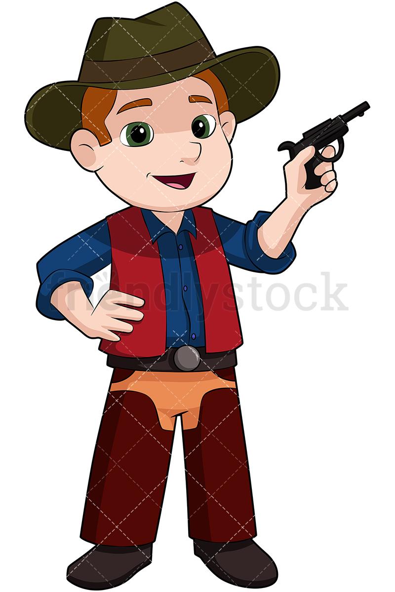 Kid Cowboy With Fake Pistol.
