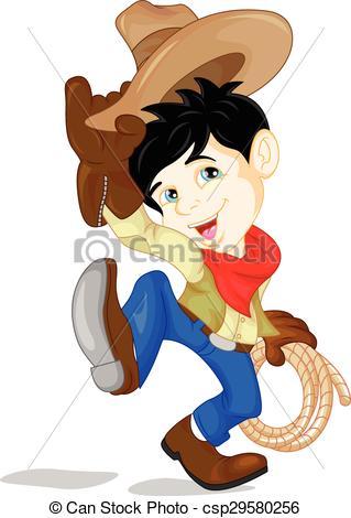 cute cowboy kid cartoon.