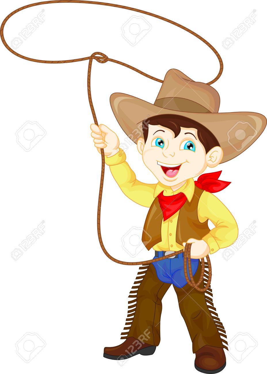 Cowboy kid twirling a lasso.