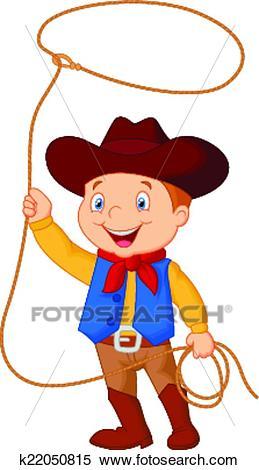 Cowboy kid twirling a lasso Clipart.
