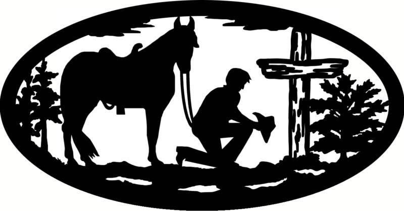 Cowboy Kneeling at Cross.