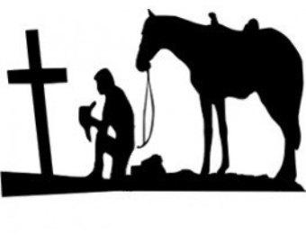 Cowboy Kneeling At Cross Clip Art.