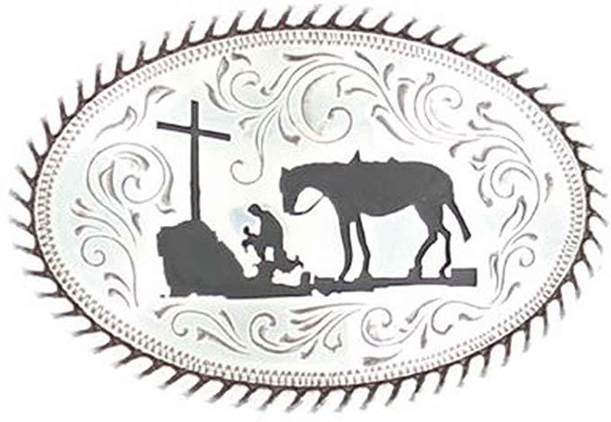 Nocona Boy's Kneeling Prayer Cowboy Belt Buckle.