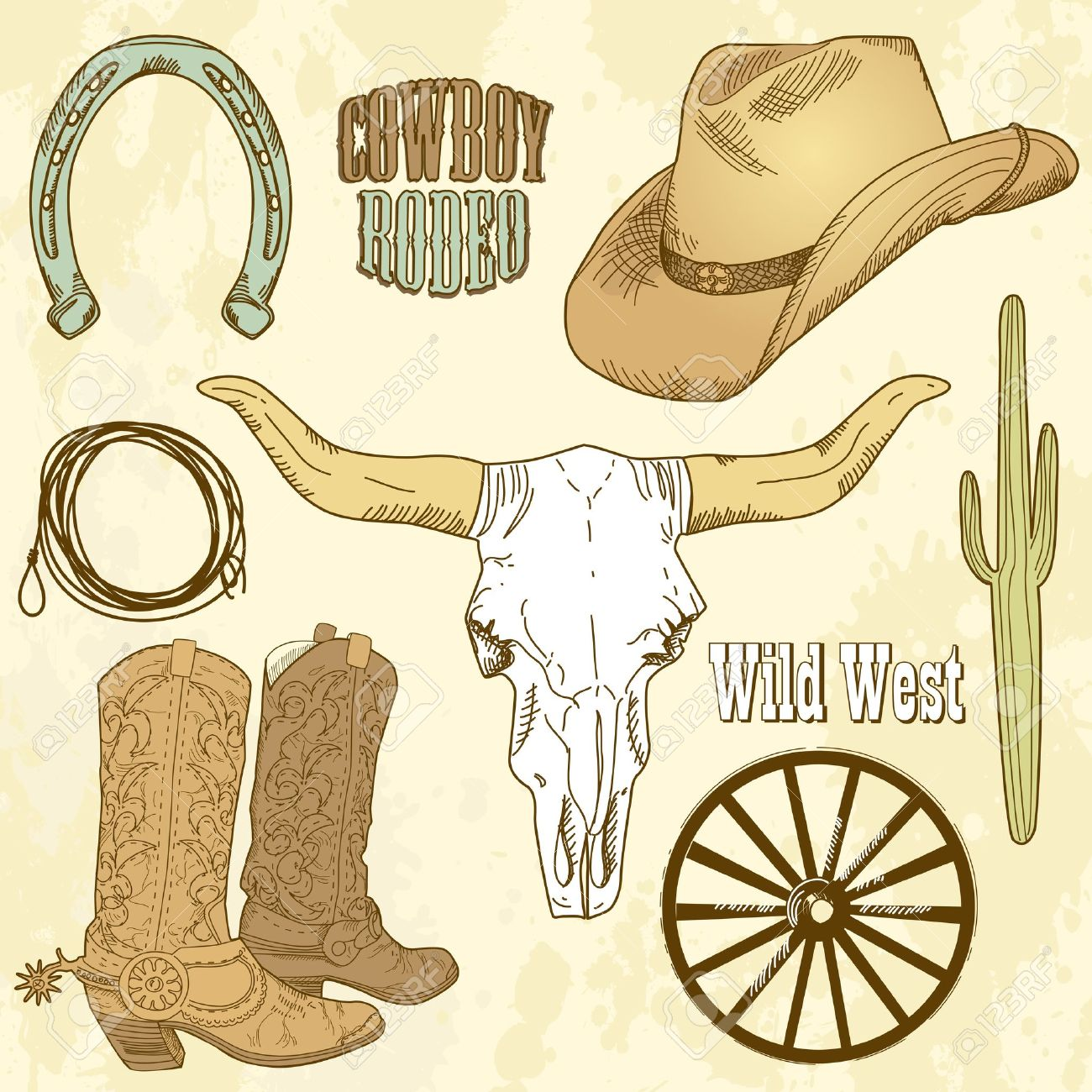 Western Horse Riding Clipart cowboy lasso and horse...