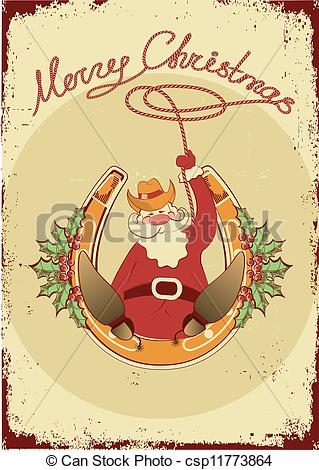 Clip Art Vector of Santa sit on horseshoe with cowboy lasso on.