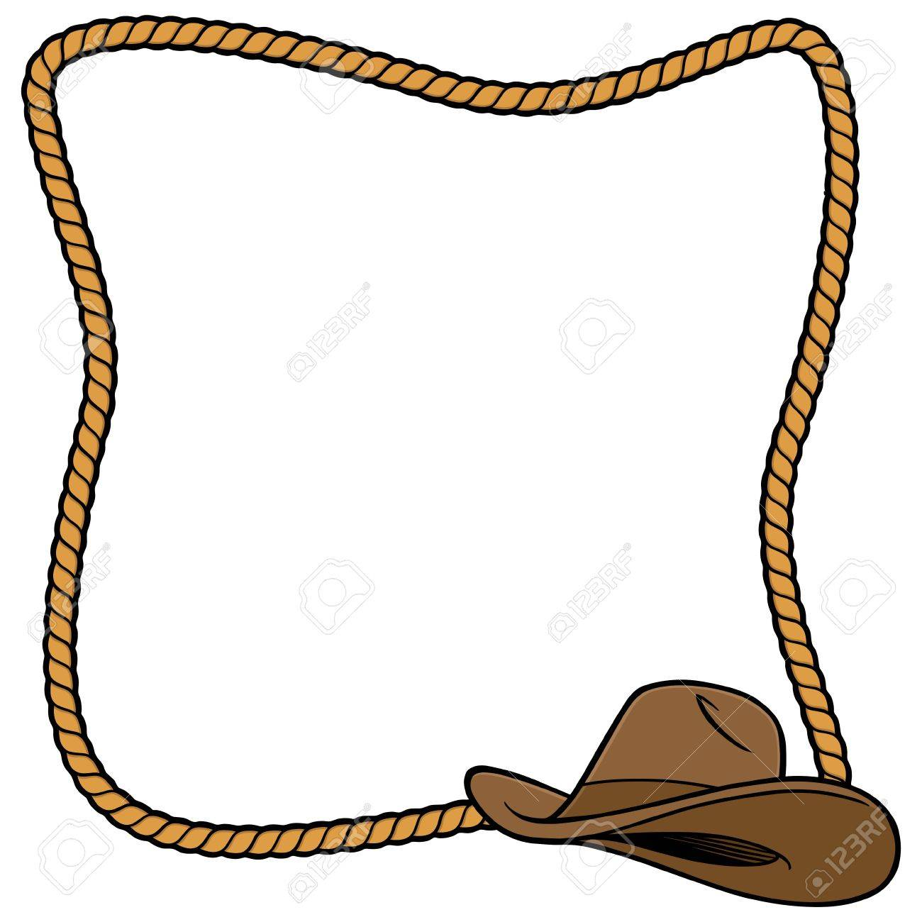 Rope Frame and Cowboy Hat.