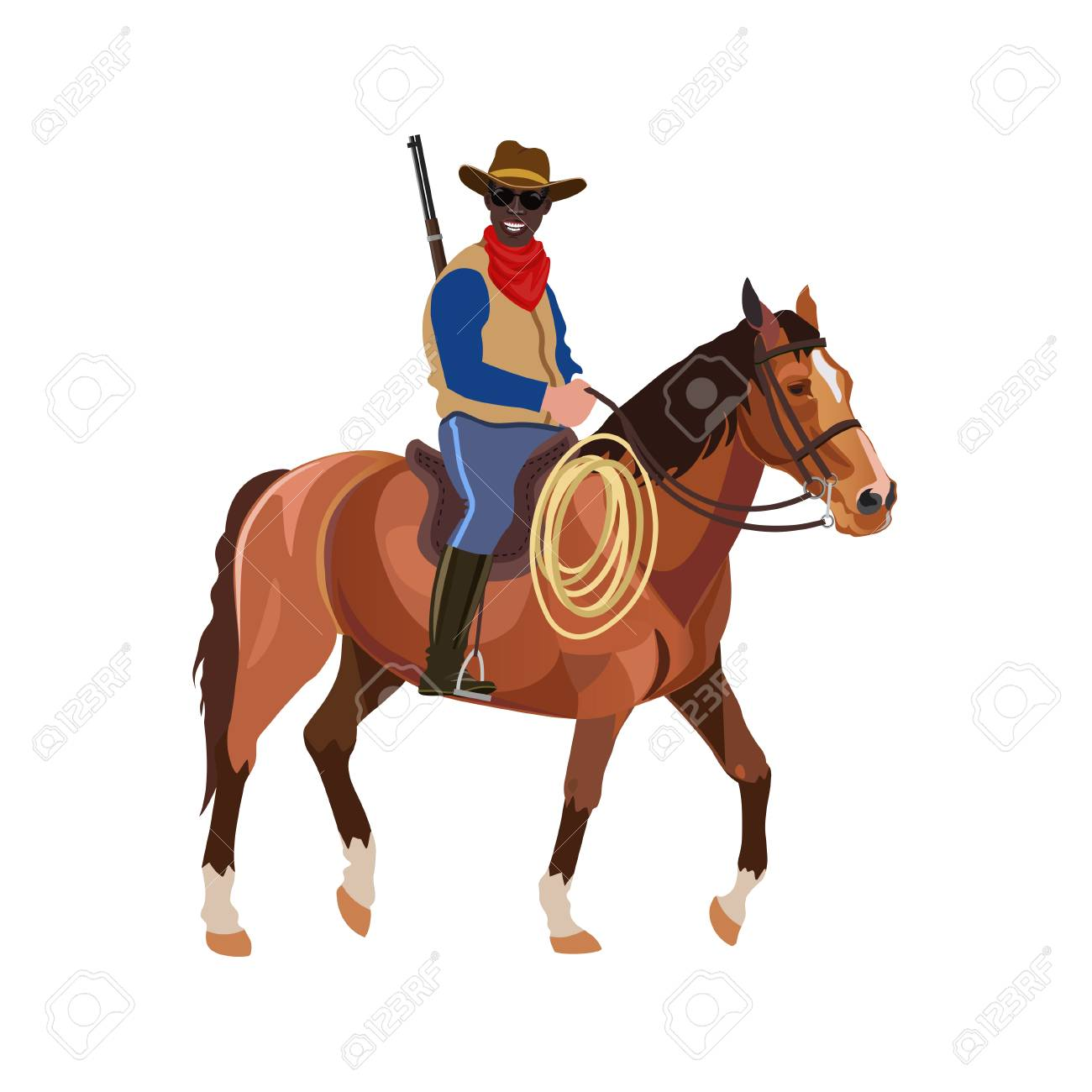 Cowboy riding horse with rifle. Vector illustration isolated...