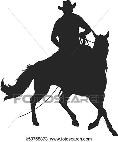 Cowboy with lasso riding a horse Clipart.