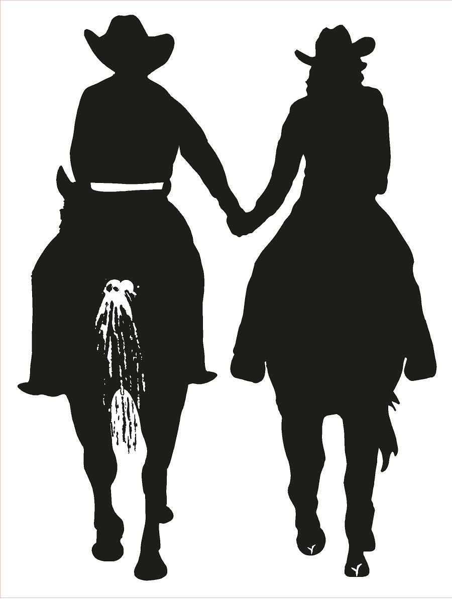 Cowgril Cowboy riding horses and holding hands. It's love.