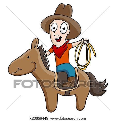 Cowboy Riding Horse Clip Art.