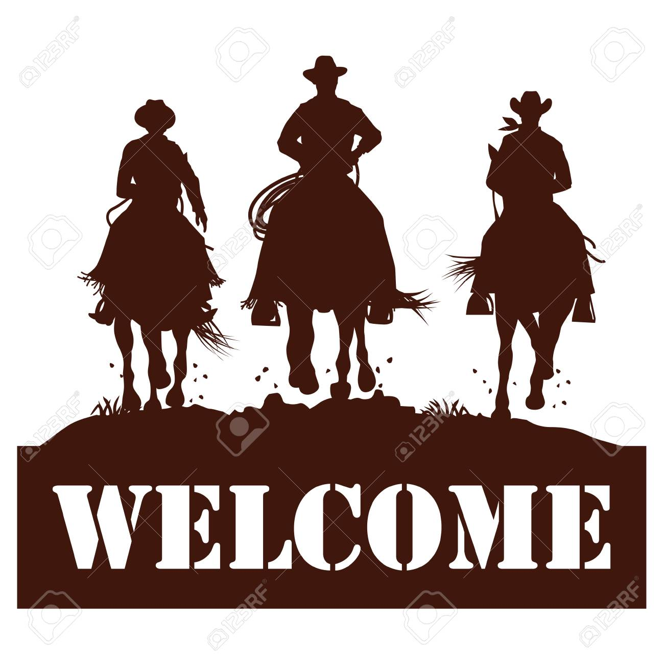 Welcome sign, Silhouette of cowboys riding horses, Vector.
