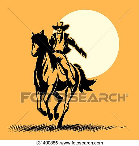 Wild west hero, cowboy silhouette riding horse at sunset Clipart.