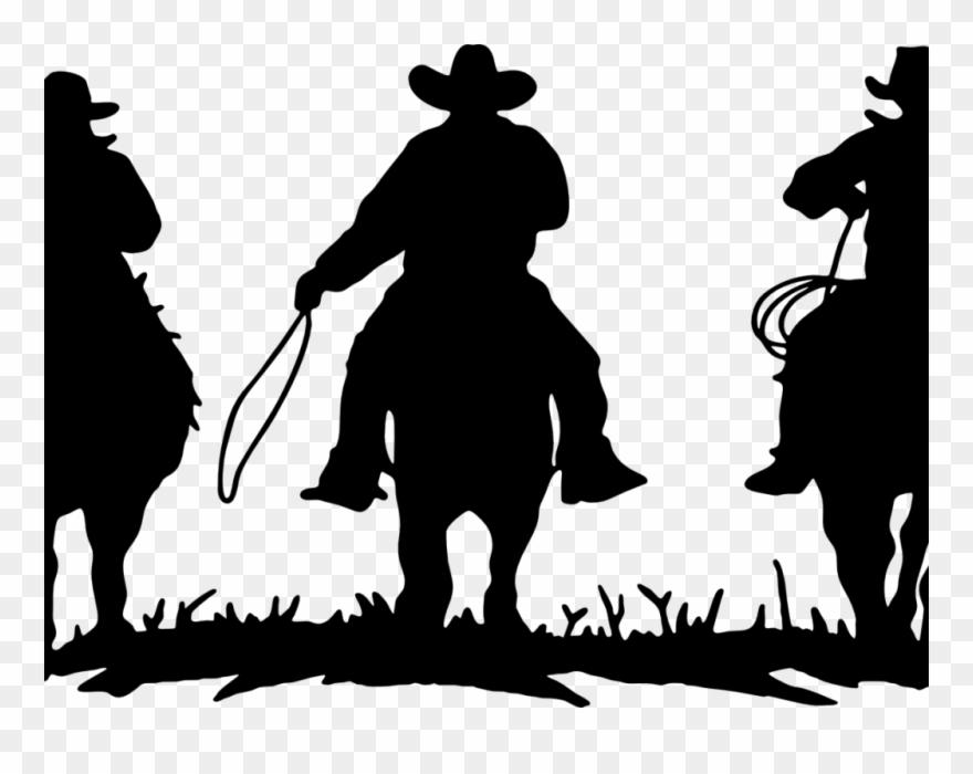 Cowboys Riding Horses Silhouette Clipart (#1492565).