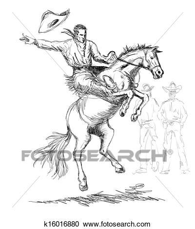 Rodeo Cowboy Riding Horse Clipart.