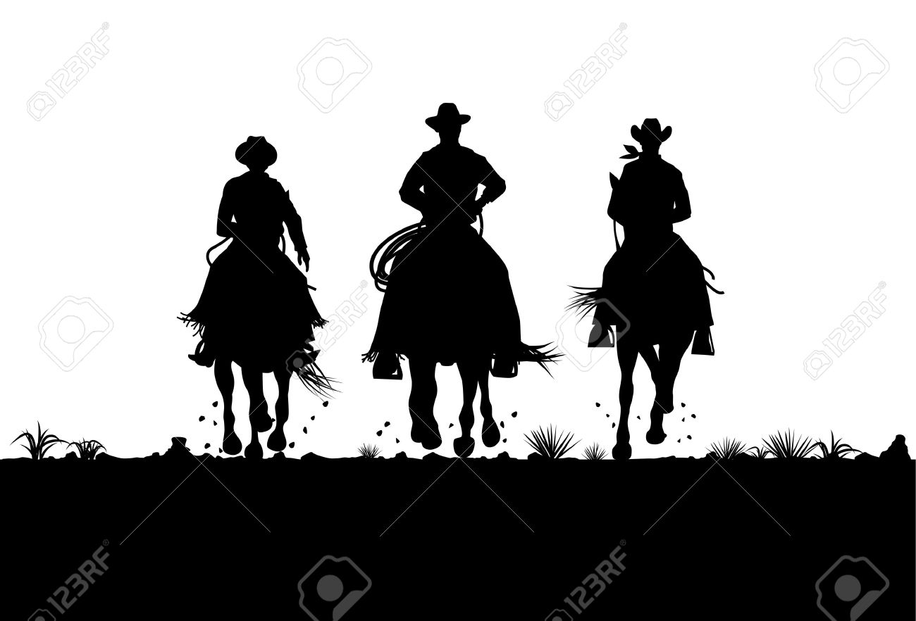 Silhouette of three cowboys riding horses, Vector.