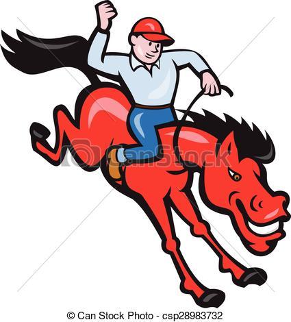 Rodeo Cowboy Riding Horse Isolated Cartoon.
