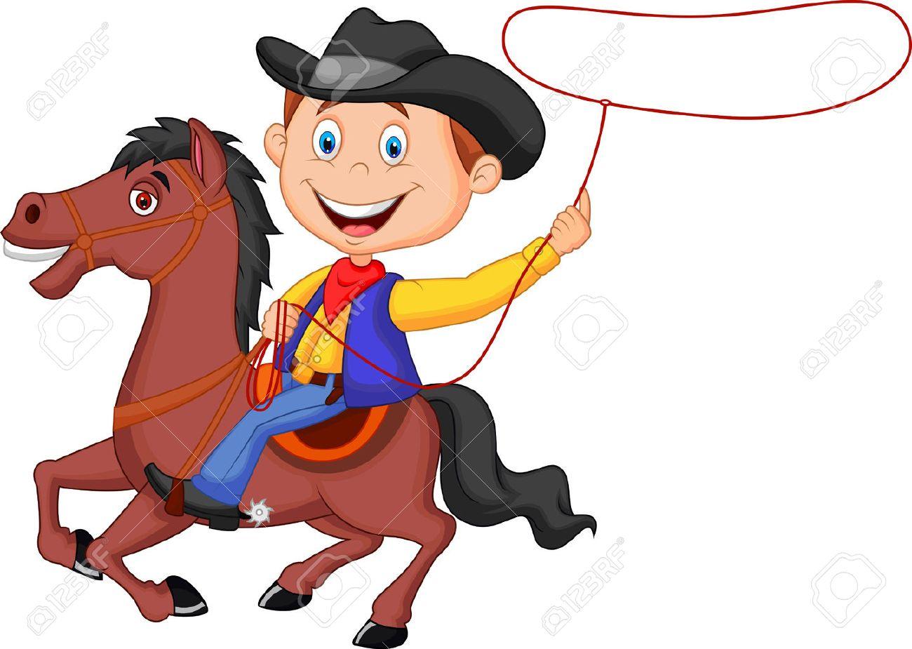 Cartoon Cowboy rider on the horse throwing lasso.